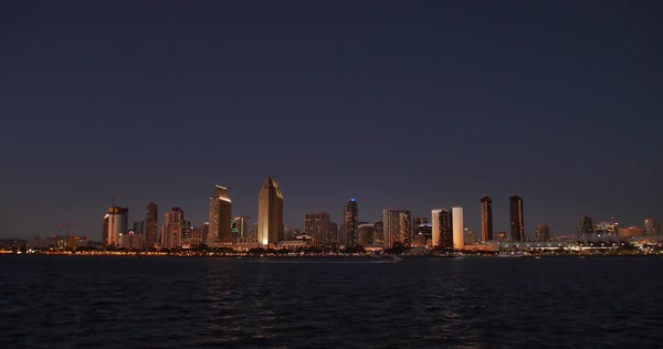 SAN DIEGO, CA - Circa February, 2017 - A picturesque wide establishing shot of the San Diego skyline at nighttime. Royalty-free stock video