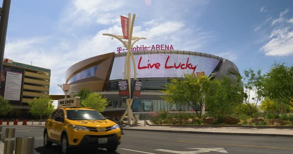 LAS VEGAS - Circa April, 2017 - A daytime establishing shot of T-Mobile Arena, home to the Las Vegas Golden Knights. Royalty-free stock video