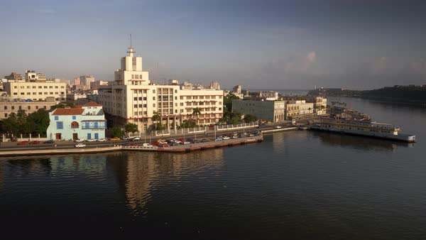 A high angle morning establishing shot of the Havana, Cuba harbor. Royalty-free stock video