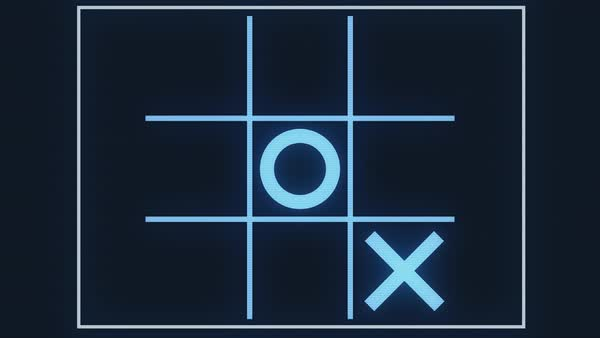 A looping simulation of an artificial intelligence (A.I.) computer system learning that tic tac toe is a pointless game. The only winning move is not to play.   Royalty-free stock video