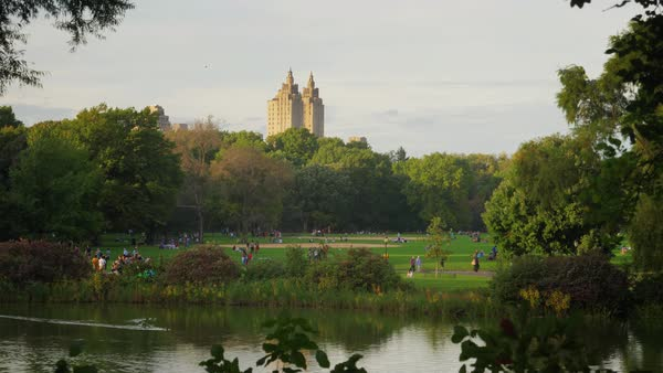 People enjoy Central Park on an early Autumn evening with the iconic New York City skyline in the distance.   Royalty-free stock video