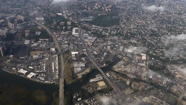An aerial view above the New York City's Eastchester district.  Royalty-free stock video
