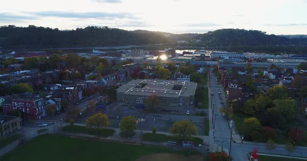 A sunset aerial establishing shot of Pittsburgh's Old Allegheny Rows Historic District. Royalty-free stock video