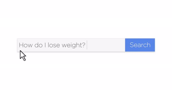 "A graphical Google-style web search box asking the question, ""How do I lose weight?"" With optional luma matte.   Royalty-free stock video"