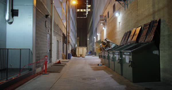 A nighttime static background plate of an alley in a large city's downtown district Royalty-free stock video