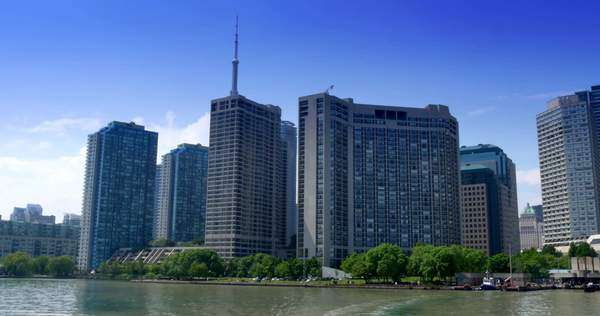 TORONTO, ONTARIO, CANADA - Circa June, 2014 - A time lapse view of leaving Harbour Square Park on a ferry headed for Ward's Island. Royalty-free stock video