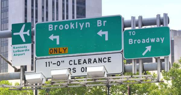 A Brooklyn Bridge road sign in lower Manhattan. Royalty-free stock video