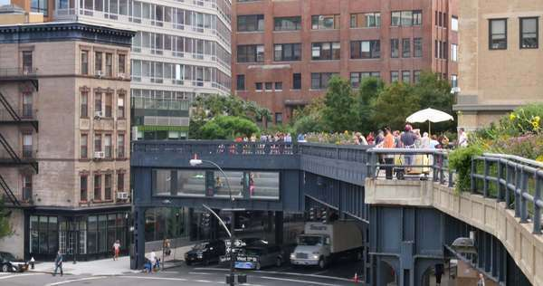 NEW YORK CITY - Circa July, 2014 - Tourists enjoy the High Line, a 1-mile New York City linear park built from a converted elevated railway. Royalty-free stock video