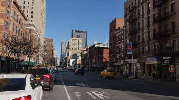 NEW YORK CITY - Circa, December, 2014 - A street-level establishing shot of Chelsea in Manhattan. Royalty-free stock video