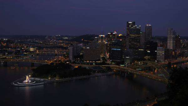 A dramatic day to night timelapse of the Pittsburgh skyline as seen from atop Mount Washington. Royalty-free stock video