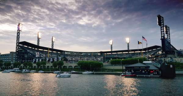 PITTSBURGH, PA - Circa May, 2015 - An establishing shot of PNC Park on Pittsburgh's North Shore. Royalty-free stock video
