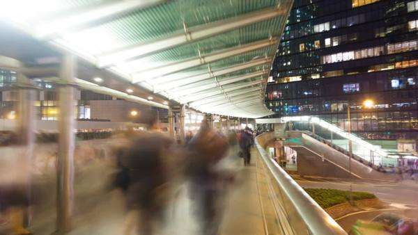 Hyperlapse video of commuters on a walkway Royalty-free stock video
