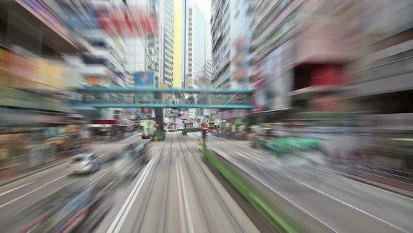 Drive down a busy district in Hong Kong Royalty-free stock video