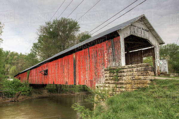 Roseville Covered Bridge in Indiana Royalty-free stock photo