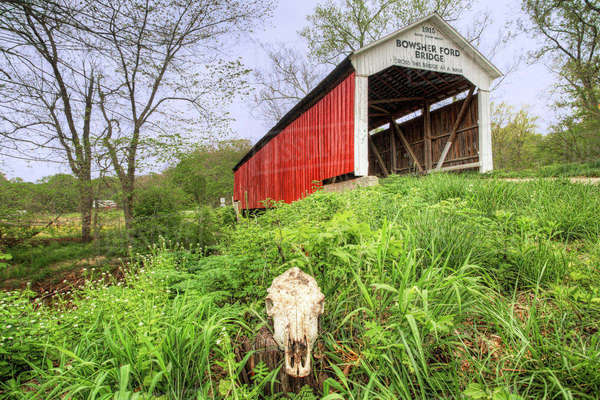 Bowsher Ford Covered Bridge in Indiana Royalty-free stock photo