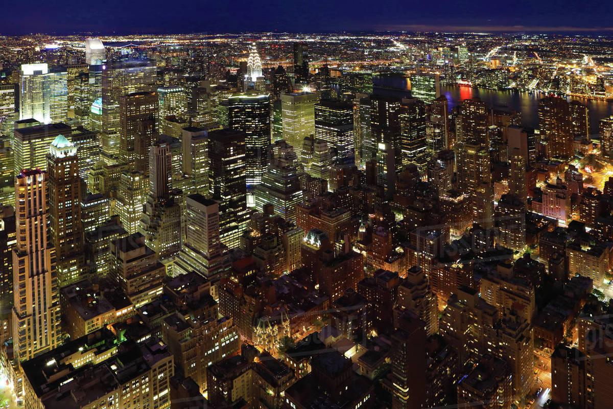 Night View Of Midtown Manhattan In New York Stock Photo Dissolve