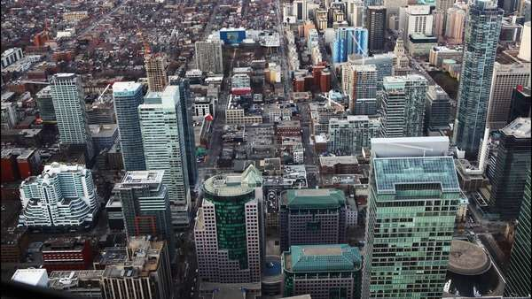 A timelapse aerial view of Toronto buildings Royalty-free stock video