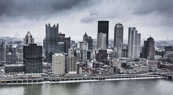Wide view of Pittsburgh skyline in snowstorm Royalty-free stock photo