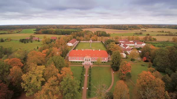 Aerial view of the Sagadi manor in Lahemaa, Estonia Royalty-free stock video
