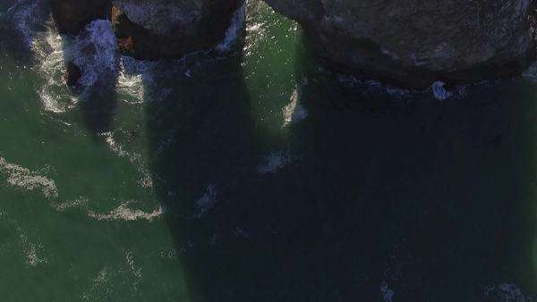 Aerial shot of Samuel H Boardman State Park along the Oregon Coast, bird's eye, Arch Rock. Rights-managed stock video
