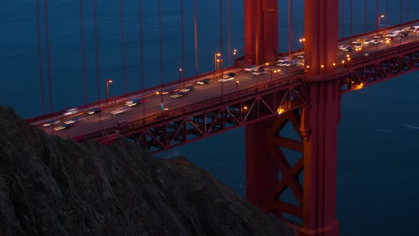 San Francisco, Golden Gate Bridge traffic timelapse. Rights-managed stock video