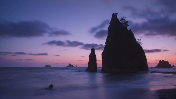 Sunset timelapse at Olympic National Park in Washington.  Rights-managed stock video