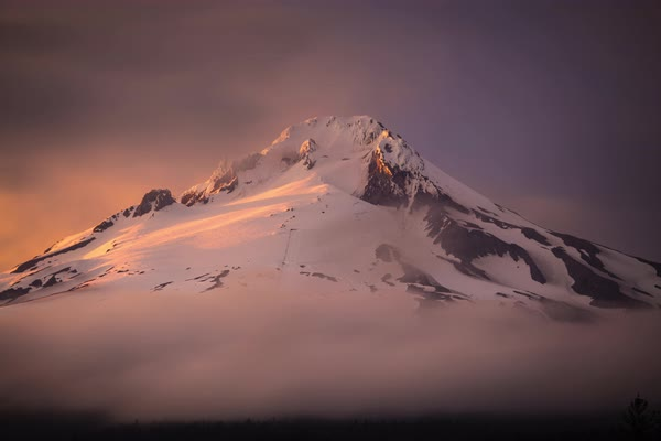 Mount hood, oregon sunset fog timelapse Rights-managed stock video