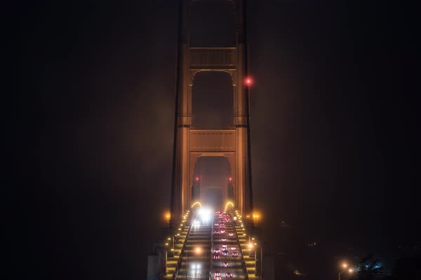 San Francisco golden gate bridge moody fog timelapse  Rights-managed stock video