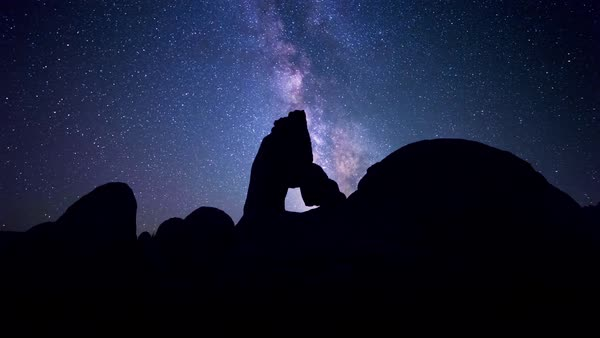 Milky Way Stars over California Arch Timelapse Rights-managed stock video