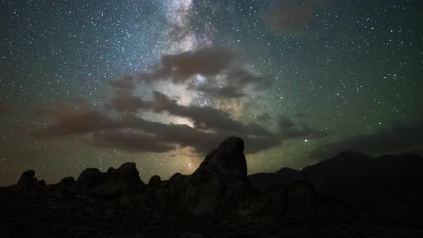 Milky Way over Alabama Hills California Timelapse Rights-managed stock video