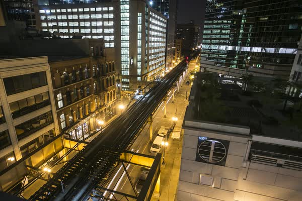Chicago Night Train City Timelapse Royalty-free stock video