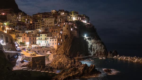 Manarola, Cinque Terre Italy, Moonrise Hyperlapse Rights-managed stock video