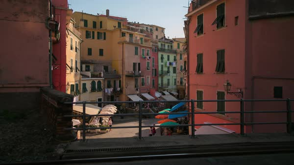 Vernazza, Cinque Terre Italy, Train Town Timelapse Rights-managed stock video