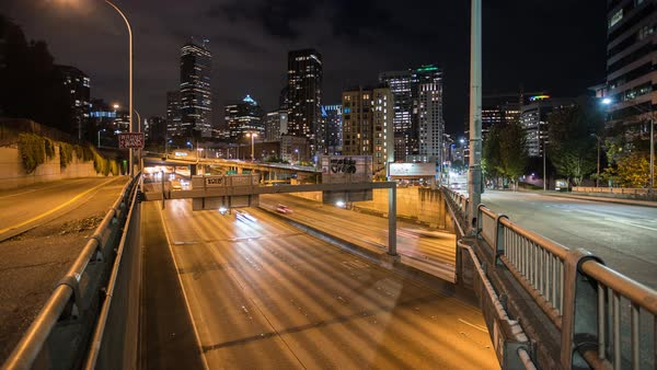 Downtown Seattle Skyline Freeway Night Timelapse  Rights-managed stock video