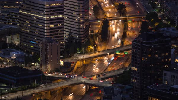 Seattle Freeway from above, night Timelapse Rights-managed stock video