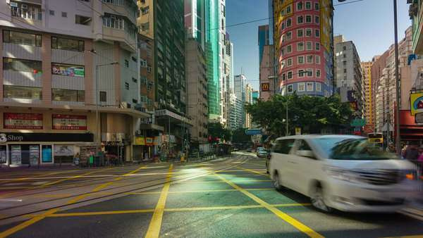 Timelapse of extremely busy traffic street in Hong Kong China Royalty-free stock video