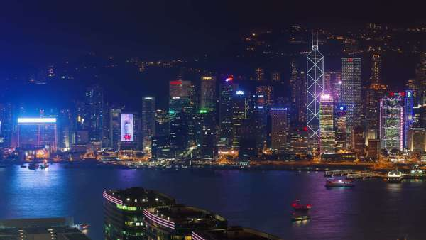 Night light city scape timelapse from Hong Kong bay Royalty-free stock video