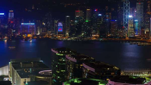 Hong Kong night light city scape and water traffic timelapse from Hong Kong Royalty-free stock video