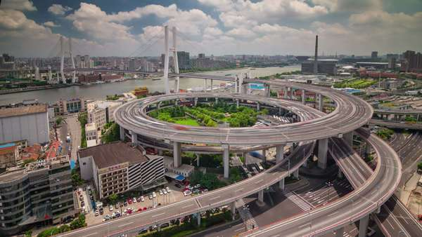 Day light traffic round interchange panorama timelapse from Shanghai Royalty-free stock video