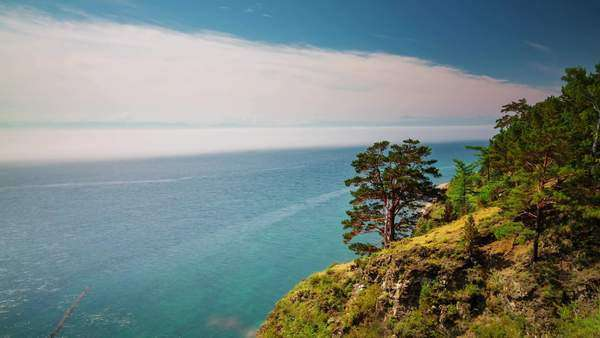 Sunny day summer panorama of Baikal lake in Russian Siberia timelapse Royalty-free stock video