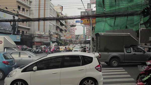 Handheld shot of heavy traffic on a street in Bangkok, Thailand Royalty-free stock video
