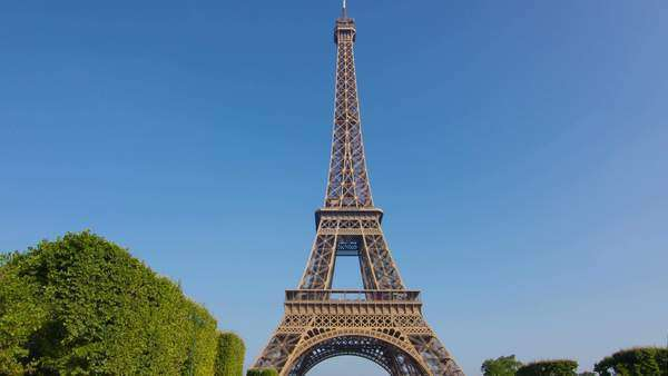 Camera moves from champs de mars toward the Eiffel Tower hyperlapse technique Paris Royalty-free stock video