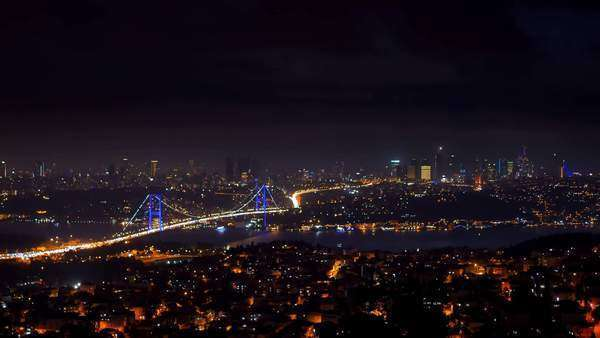 City of Istanbul skyline at night: Traffic crossing the Bosphorus Bridge  Royalty-free stock video