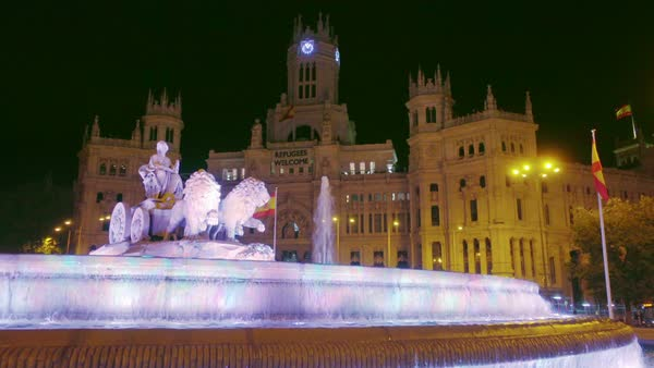Madrid Cibeles Square fountain crane shot Royalty-free stock video