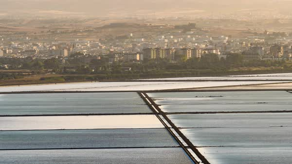 Salt Pans Of Cagliari City At Sunrise Royalty-free stock video