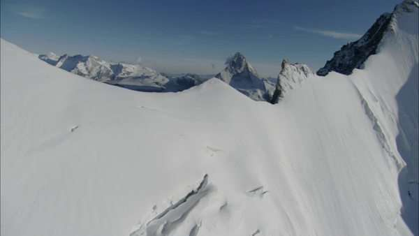 Wide shot of mountain ridges in the Swiss Alps Royalty-free stock video