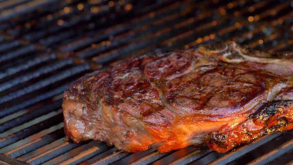 Close-up of rib eye steak on a charcoal grill Royalty-free stock video