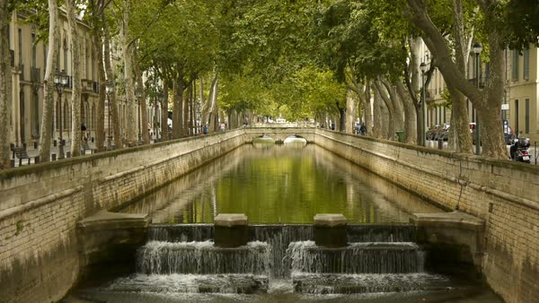 River to Jardin des Fontains, Nimes France Royalty-free stock video