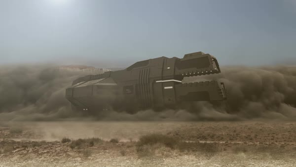 Futuristic cargo spaceship landing with dust and smoke - 24 fps Royalty-free stock video