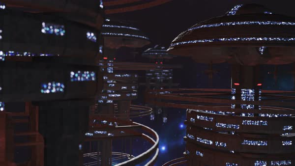 Fly through a fleet of futuristic space stations Royalty-free stock video